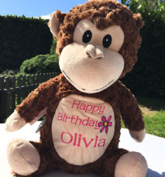 Personalised Soft Toy Animal Cubbie Monkey